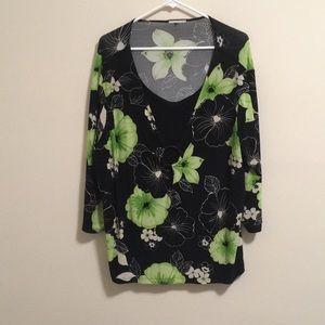 2/$20 Hawaiian Nights Lime Green Blouse 2X